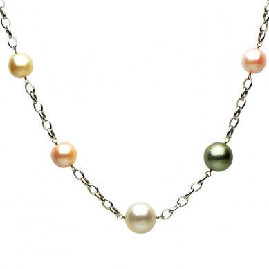 Pearl Tin Cup Necklace - N005142 - Small Image