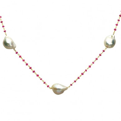 Pearl Tin Cup Necklace - N005185 - Small Image