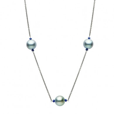 14K Black Gold 12-13mm Tahitian Pearl & Sapphire/Kyanite Necklace - N005190 - Small Image
