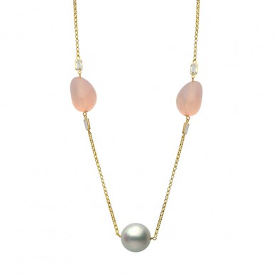 14K Yellow Gold 12-14mm South Sea Pearl, White Topaz & Rose Quartz Necklace - N005191 - Small Image