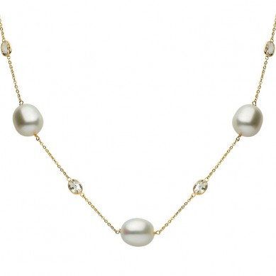 14K Yellow Gold 11.5-12.5mm South Sea Pearl & White Topaz Necklace - N005192 - Small Image