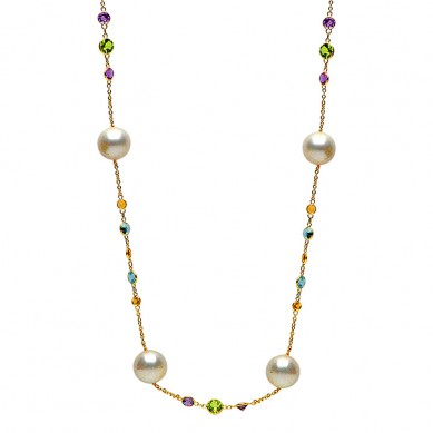 14K Yellow Gold 10.5-11.5mm Freshwater Pearl & Semi Precious Necklace - N005195 - Small Image