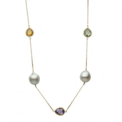 14K Yellow Gold 12-13mm South Sea Pearl & Semi Precious Necklace - N005196 - Small Image