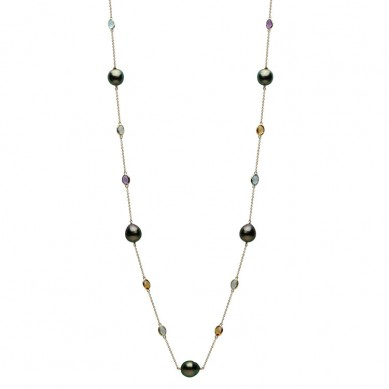 14K Yellow Gold 11-12mm Tahitian Pearl, Green Amethyst & Semi Precious Necklace - N005199 - Small Image