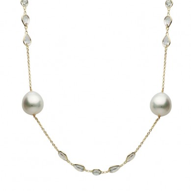 14K Yellow Gold 12-13mm South Sea Pearl & White Topaz Necklace - N005200 - Small Image