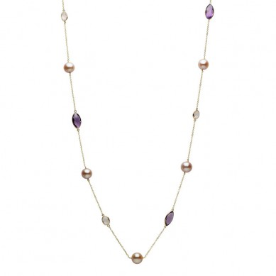 14K Yellow Gold Pink Freshwater Pearl, Amethyst & Rose Quartz Necklace - N005201 - Small Image