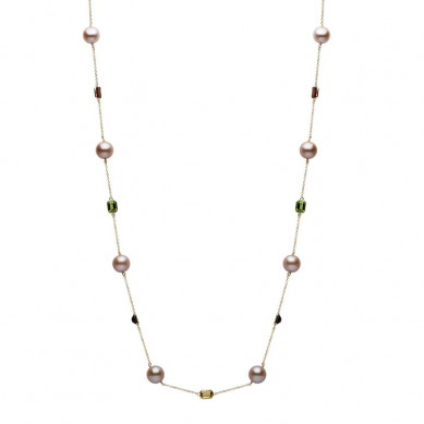 14K Yellow Gold 10-11mm Pink Freshwater Pearl & Semi Precious Necklace - N005202 - Small Image