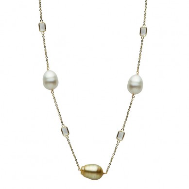14K White Gold 10-11mm White & Golden South Sea Pearl & White Topaz Necklace - N005203 - Small Image