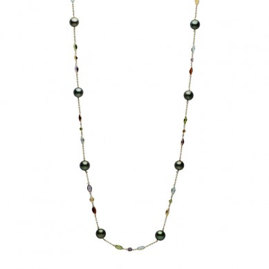 14K Yellow Gold 9-10mm Tahitian Pearl & Semi Precious Necklace - N005204 - Small Image