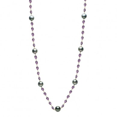 14K Yellow Gold 12-13mm Tahitian Pearl & Amethyst Necklace - N005205 - Small Image