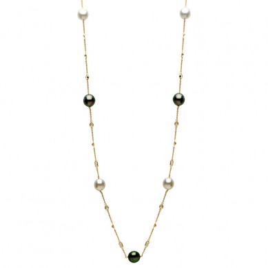 14K Yellow Gold 11-12mm South Sea & Tahitian Pearl & White Topaz Necklace - N005206 - Small Image
