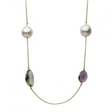 14K Yellow Gold 13-14mm South Sea Pearl & Semi Precious Necklace - N005207 - Small Image