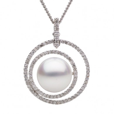 Pearl and Diamond Pendant (0.76 ct. tw.) - P002119 - Small Image