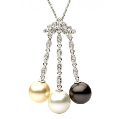 Pearl and Diamond Pendant (0.29 ct. tw.) - P002147 - Small Image