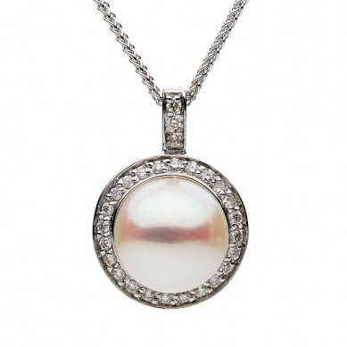 Pearl and Diamond Pendant (0.22 ct. tw.) - P002194 - Small Image