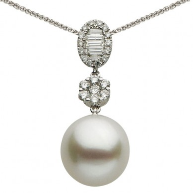18K White Gold 11-12mm South Sea Pearl & Diamond Pendant (0.50 ct. tw.) - P002342 - Small Image