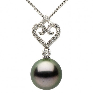18K White Gold 11-12mm Tahitian Pearl & Diamond Pendant (0.98 ct. tw.) - P002350 - Small Image