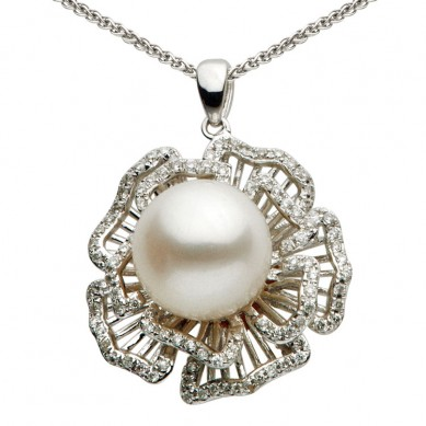 14K White Gold 9.5-10mm Freshwater Pearl & Diamond Pendant (0.28 ct. tw.) - P002351 - Small Image