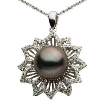 14K White Gold 9-10mm Tahitian Pearl & Diamond Pendant (0.32 ct. tw.) - P002352 - Small Image
