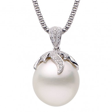 Pearl pendant pearl jewelry innovative pearl pearl and diamond pendant 075 ct tw aloadofball Gallery