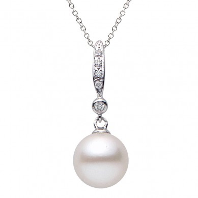 Pearl and Diamond Pendant (0.05 ct. tw.) - PE02092 - Small Image