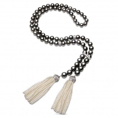 Pearl Necklace with Tassles (2.50 ct. tw.) - PJ002060 - Small Image