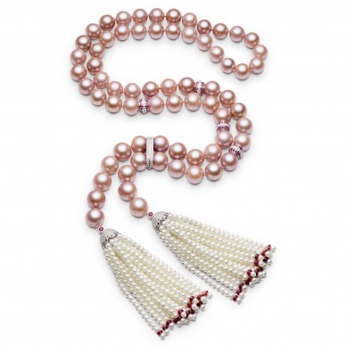 Pearl Necklace with Tassles (4.00 ct. tw.) - PJ002063 - Small Image