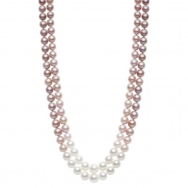Double Pearl Ombre Necklace (1.80 ct. tw.) - PJ002067 - Small Image