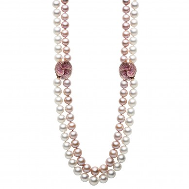 Double Pearl Necklace - PJ002069 - Small Image