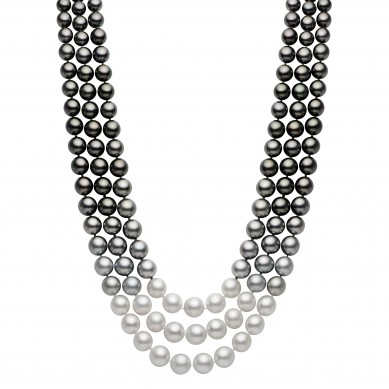 Triple Pearl Ombre Necklace (2.50 ct. tw.) - PJ002113 - Small Image