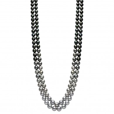 Double Pearl Ombre Necklace (1.80 ct. tw.) - PJ002171 - Small Image