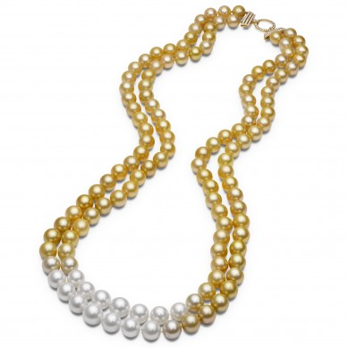 Double Pearl Ombre Necklace (1.80 ct. tw.) - PJ002176 - Small Image