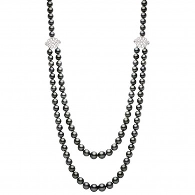 Double Pearl Necklace (1.20 ct. tw.) - PJ002200 - Small Image