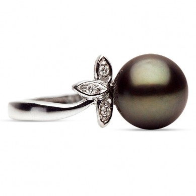 14K White Gold 9-10mm Tahitian Pearl & Diamond Ring (0.03 ct. tw.) - R002042 - Small Image