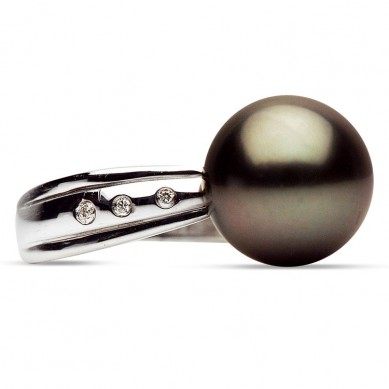 14K White Gold 11-12mm Tahitian Pearl & Diamond Ring (0.04 ct. tw.) - R002044 - Small Image