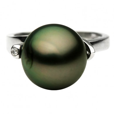 14K White Gold 12-13mm Tahitian Pearl & Diamond Ring (0.01 ct. tw.) - R002046 - Small Image
