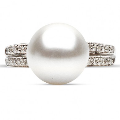 14K White Gold 11-12mm South Sea Pearl & Diamond Ring (0.15 ct. tw.) - R002047 - Small Image