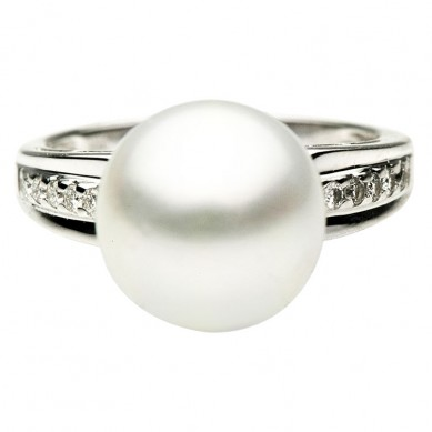 14K White Gold 11-12mm South Sea Pearl & Diamond Ring (0.14 ct. tw.) - R002048 - Small Image
