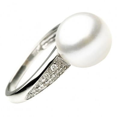 14K White Gold 11-12mm South Sea Pearl & Diamond Ring (0.14 ct. tw.) - R002049 - Small Image