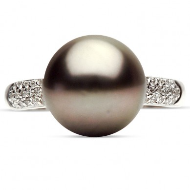 14K White Gold 11-12mm Tahitian Pearl & Diamond Ring (0.17 ct. tw.) - R002050 - Small Image