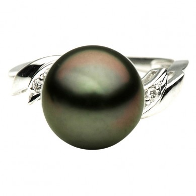 14K White Gold 10-11mm Tahitian Pearl & Diamond Ring (0.05 ct. tw.) - R002051 - Small Image
