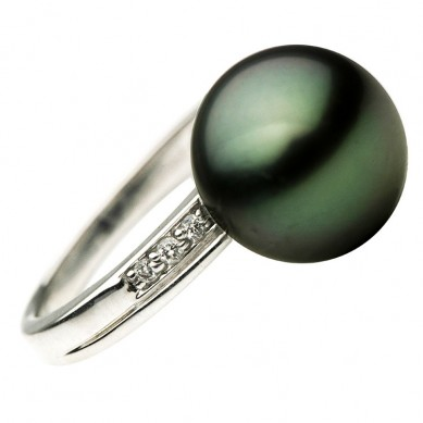 14K White Gold 11-12mm Tahitian Pearl & Diamond Ring (0.07 ct. tw.) - R002052 - Small Image