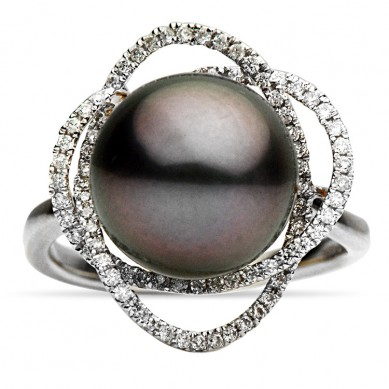 14K White Gold 10-11mm Tahitian Pearl & Diamond Ring (0.19 ct. tw.) - R002054 - Small Image