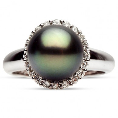 14K White Gold 10-11mm Tahitian Pearl & Diamond Ring (0.37 ct. tw.) - R002059 - Small Image