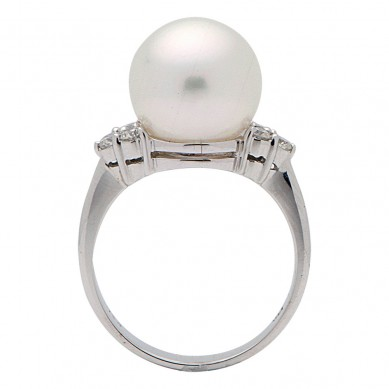 14K White Gold 11-12mm South Sea Pearl & Diamond Ring (0.31 ct. tw.) - R002060 - Small Image