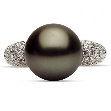 14K White Gold 11-12mm Tahitian Pearl & Diamond Ring (0.29 ct. tw.) - R002061 - Small Image