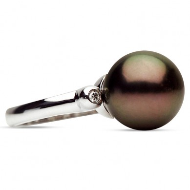 14K White Gold 11-12mm Tahitian Pearl & Diamond Ring (0.04 ct. tw.) - R002062 - Small Image