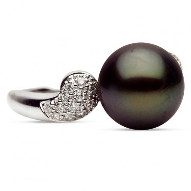 14K White Gold 10-11mm Tahitian Pearl & Diamond Ring (0.26 ct. tw.) - R002063 - Small Image