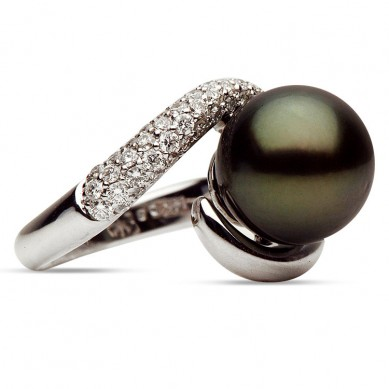 14K White Gold 11-12mm Tahitian Pearl & Diamond Ring (0.62 ct. tw.) - R002064 - Small Image