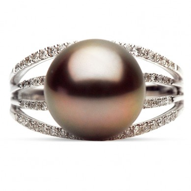 14K White Gold 10-11mm Tahitian Pearl & Diamond Ring (0.32 ct. tw.) - R002065 - Small Image